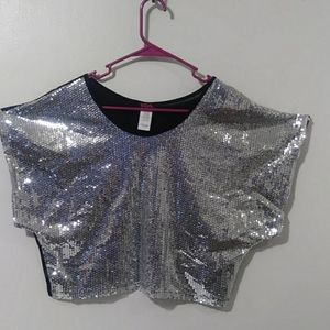 Gorgeous blouse with silver sequined front.